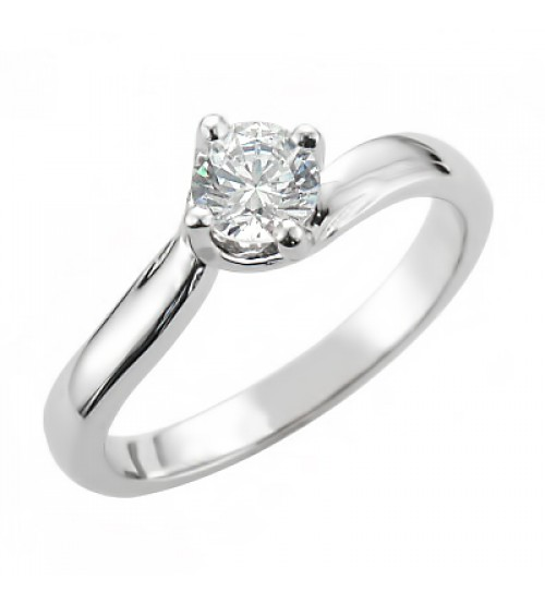 Classic Solitaire Engagement Ring in 14k White Gold
