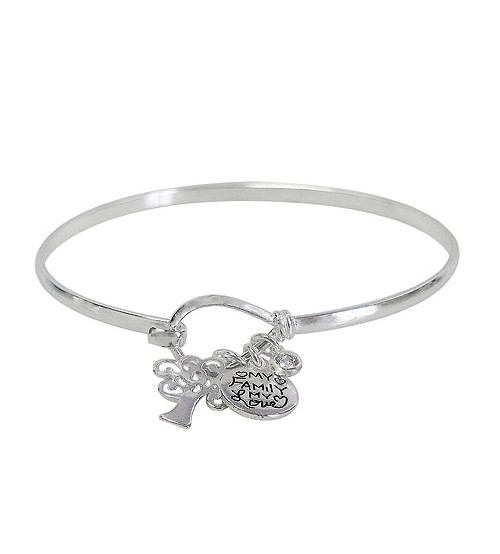 Hook Wire Bracelet with Charms, Sterling Silver