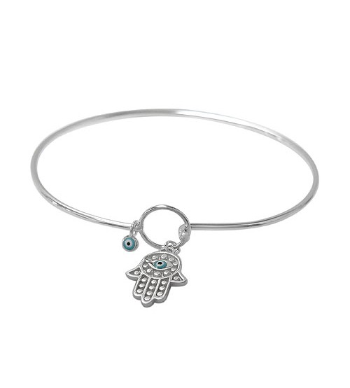 Hook Wire Bracelet with Hamsa Charm, Sterling Silver