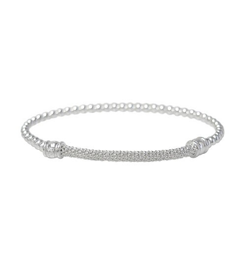 Elastic 3mm Ball Bead Bracelet with Korean Chain, Sterling Silver