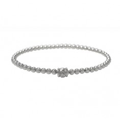 Elastic 3mm Smooth Ball Bead Bracelet, Sterling Silver