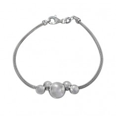 Bracelet with 6mm & 10mm Beads, Sterling Silver