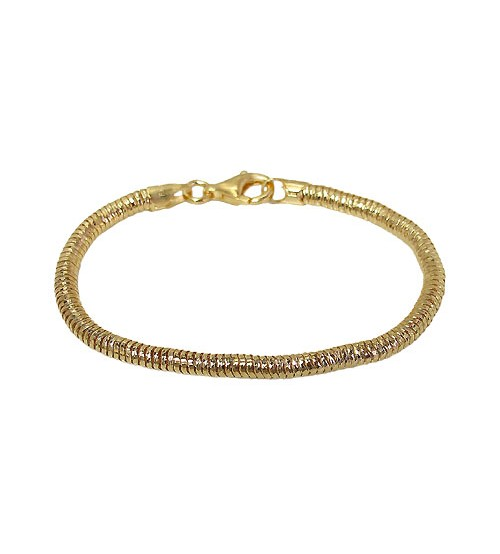 Gold Plated 2.5mm Snake Chain Bracelet, Sterling Silver