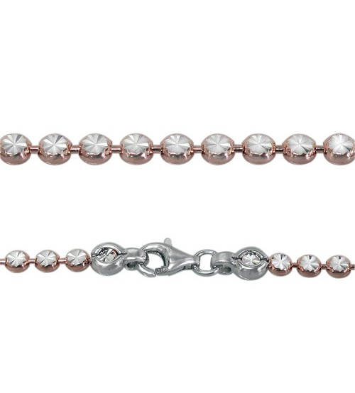 Rose Gold Plated Bracelet with 3mm Flat, Round Beads, Sterling Silver