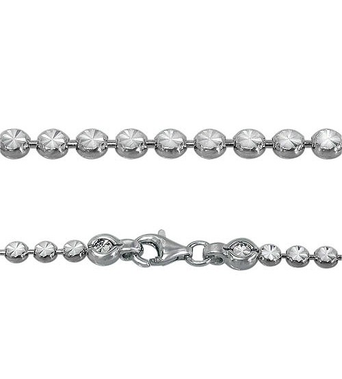 Bracelet with 3mm Flat, Round Beads, Sterling Silver