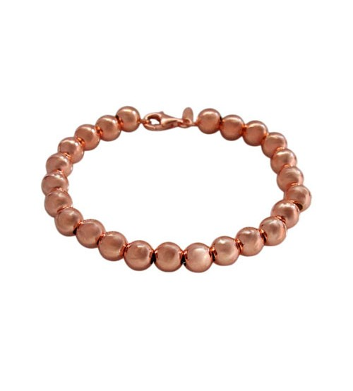 Rose Gold Plated 6mm Ball Bead Bracelet, Sterling Silver