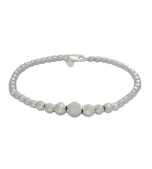 Graduated Ball Bead Bracelet, Sterling Silver