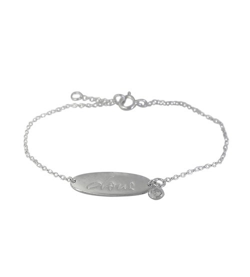"Oval ""Love"" Bracelet, Sterling Silver"