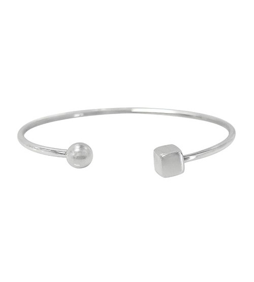 Open Cuff Bracelet with Cube & Ball Beads, Sterling Silver