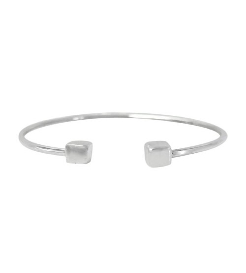 Open Cuff Bracelet with Cube Beads, Sterling Silver