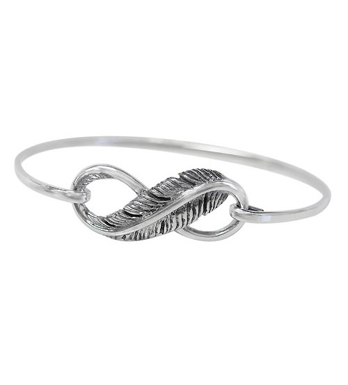 Infinity Feather Bracelet, Sterling Silver