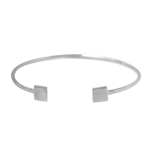 Wire Cuff Bracelet with Square Ends, Sterling Silver