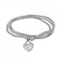 Elastic 3mm Ball Bead Bracelet with Heart Charm, Sterling Silver