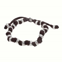 Cord Bracelet with Multi Rondelle Beads, Sterling Silver