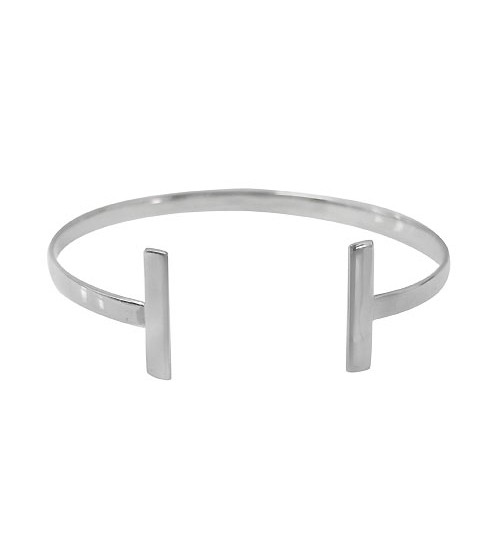 Flat Cuff Bracelet with Rectangular Ends, Sterling Silver