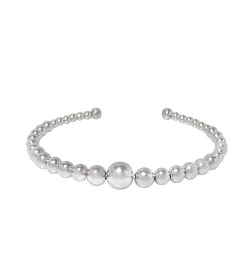 Graduated Ball Bead Cuff Bracelet, Sterling Silver