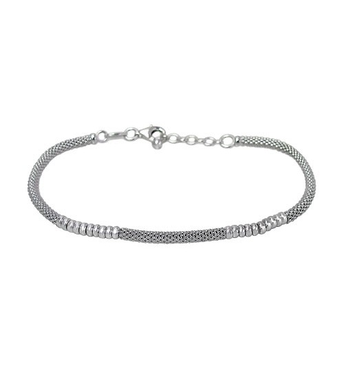 Korean Chain Bracelet with 3mm Beads, Sterling Silver