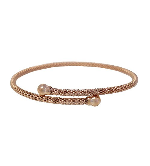 Rose Gold Plated Adjustable Mesh Bracelet, Sterling Silver