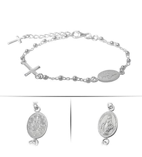 Miraculous Medal & Cross Charm Bracelet, Sterling Silver