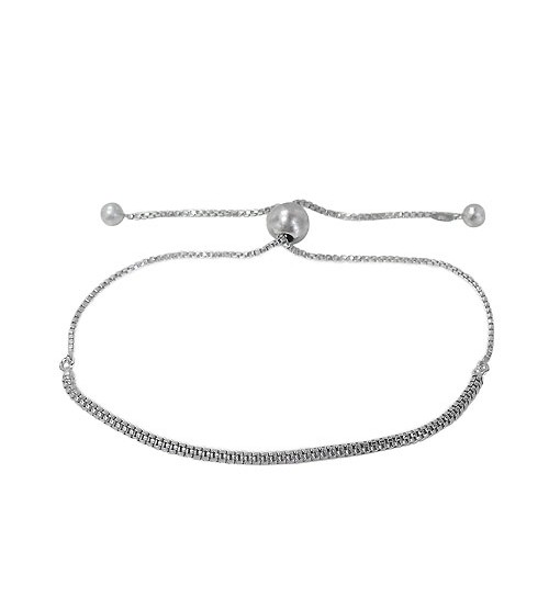 Mesh Style Bracelet with 7mm Ball Bead, Sterling Silver