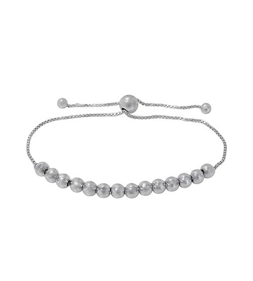 5mm Ball Bead Bracelet with 7mm Ball Bead, Sterling Silver