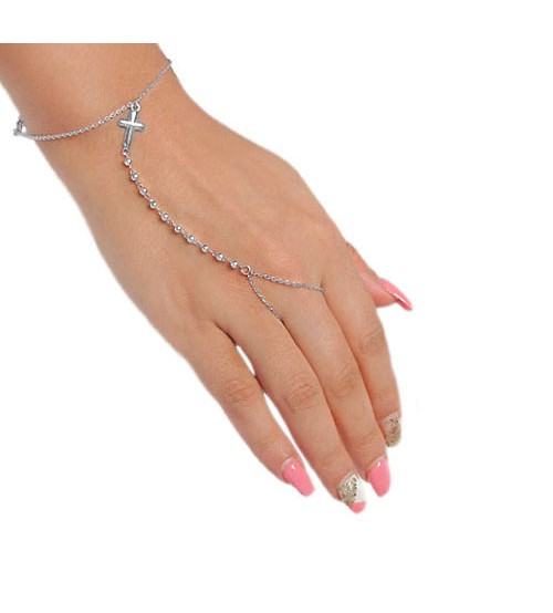 Slave Bracelet & Ring with Cross Charm, Sterling Silver