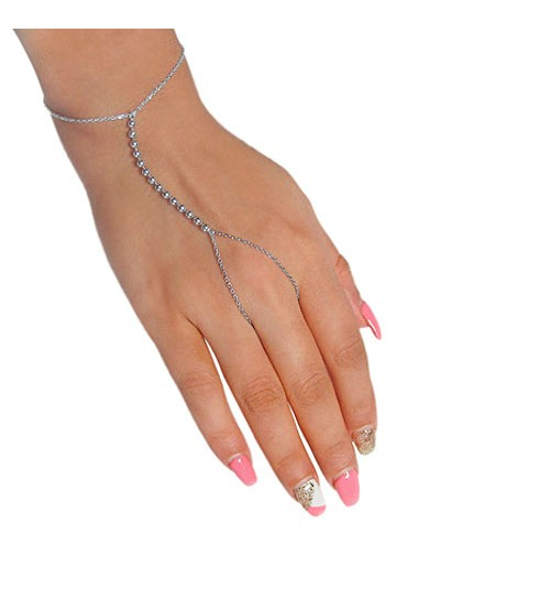 Slave Bracelet & Ring with 3mm Ball Charm, Sterling Silver