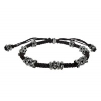 Cord Bracelet with Multi Beads, Sterling Silver