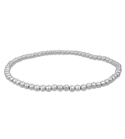 Elastic 3mm Ball Bead Bracelet, Sterling Silver