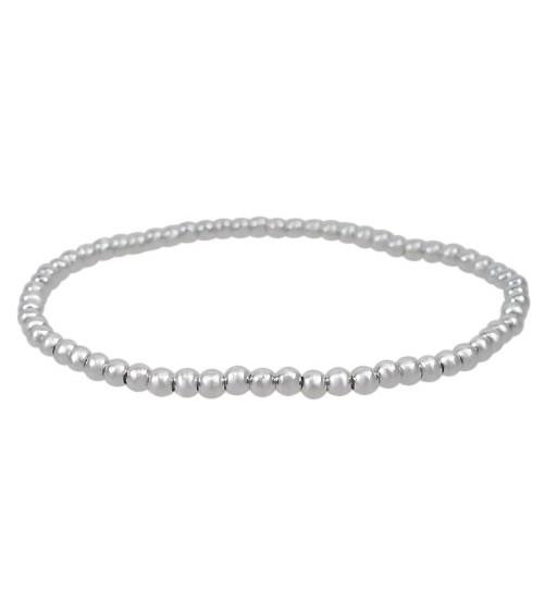 Elastic 3mm Ball Bead Bracelet, Sterling Silver