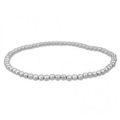 Elastic 4mm Ball Bead Bracelet, Sterling Silver