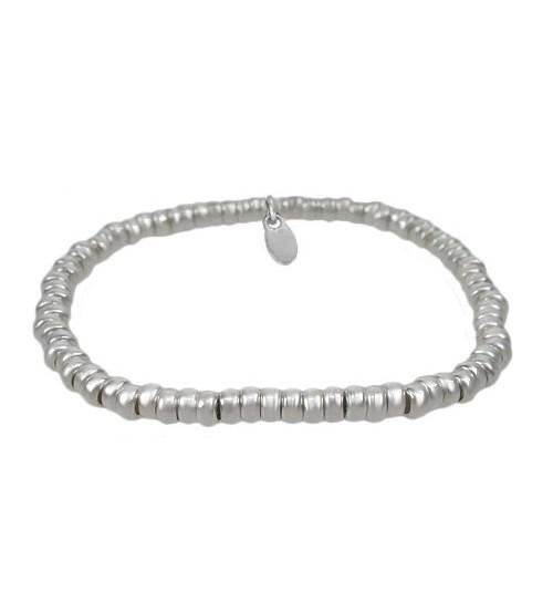 Elastic Rondelle Bracelet, Sterling Silver