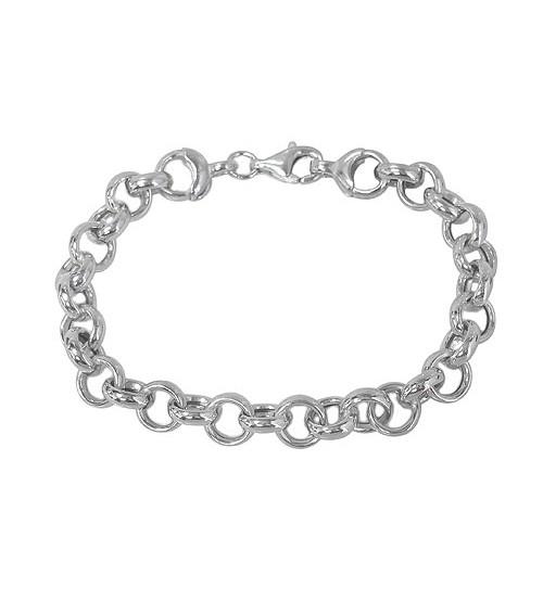 Hallow Rolo Style Bracelet, Sterling Silver