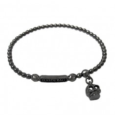Elastic 3mm Ball Bead Bracelet with Skull Charm, Sterling Silver
