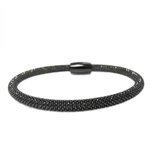 Black Mesh Style Bracelet, Sterling Silver