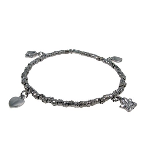 Elastic Bracelet with Multi Charms, Sterling Silver