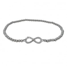 Elastic 3mm Ball Bead Bracelet with Infinity Charm, Sterling Silver