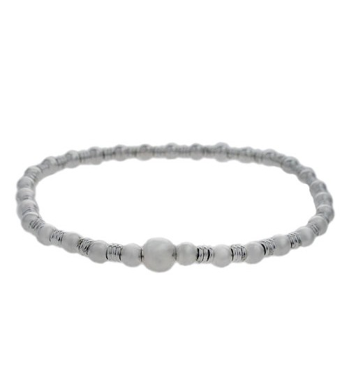 Elastic Round & Ball Bead Bracelet, Sterling Silver