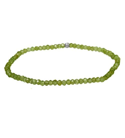 Peridot Elastic Bracelet, Sterling Silver