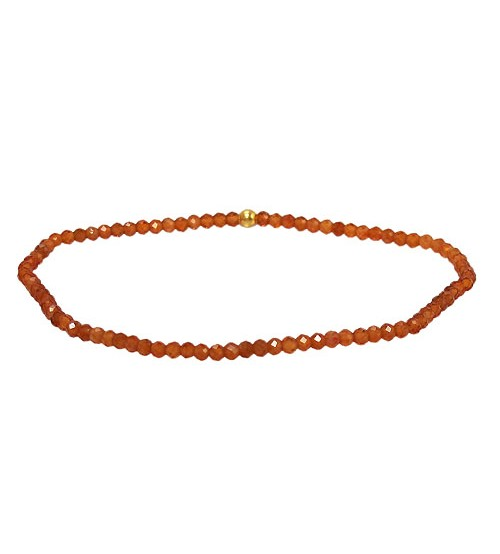 Hessonite Elastic Bracelet, Sterling Silver