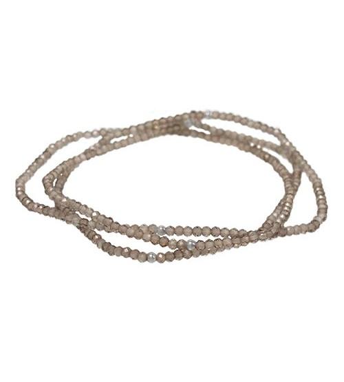 Smoky Quartz Elastic Wrap Bracelet, Sterling Silver