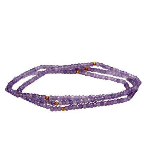 Amethyst Elastic Wrap Bracelet, Sterling Silver