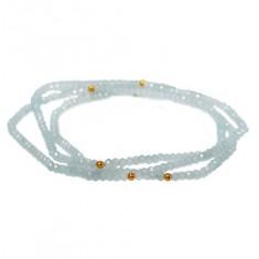 Aquamarine Elastic Wrap Bracelet, Sterling Silver