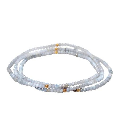 Blue Lace Agate Elastic Wrap Bracelet, Sterling Silver