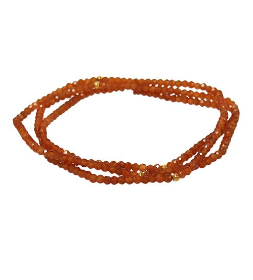 Hessonite Elastic Wrap Bracelet, Sterling Silver