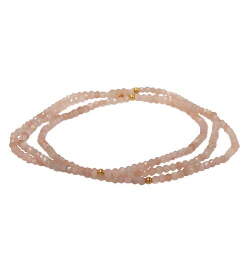Pink Moonstone Elastic Wrap Bracelet, Sterling Silver