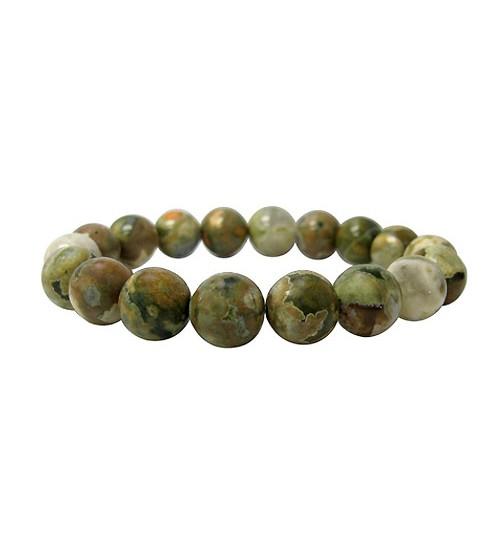 10mm Rainforest Jasper Elastic Gemstone Bracelet