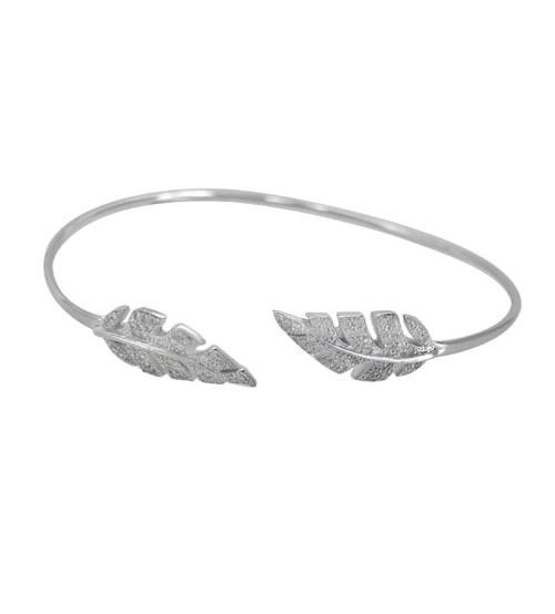 Cubic Zirconia Leaf Open Cuff Bracelet, Sterling Silver
