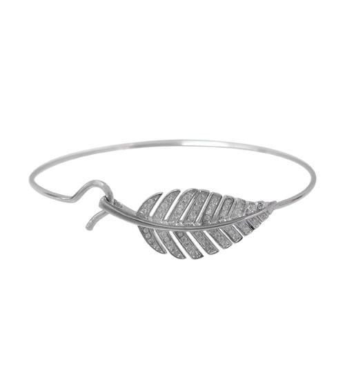 Cubic Zirconia Leaf Bracelet, Sterling Silver