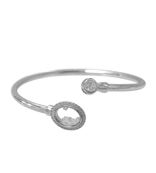 Open Cuff Cubic Zirconia Bracelet, Sterling Silver